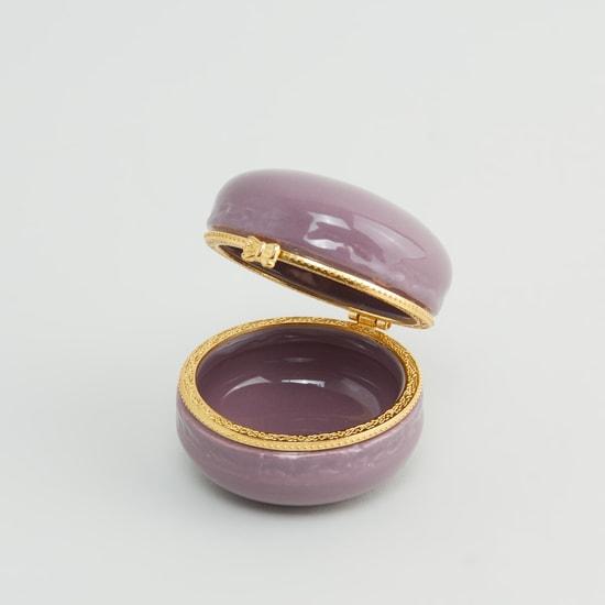 صندوق مجوهرات سادة دائري مزيّن بفيونكة - 7 سم