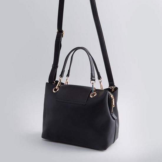 حقيبة يد بارزة الملمس بحمّالة كتف قابلة للفصل