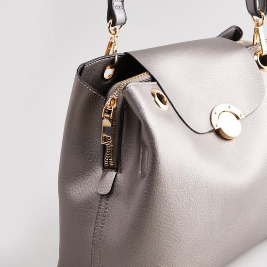 Textured Handbag with Detachable Shoulder Strap