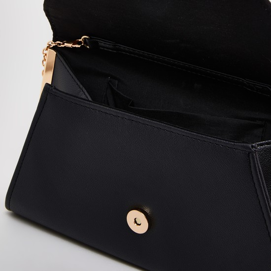 Plain Crossbody Bag with Magnetic Snap Closure and Metallic Chain