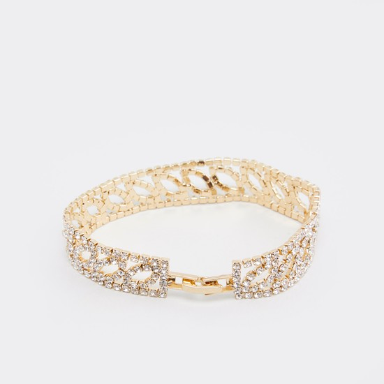 Studded Bracelet with Foldover Clasp