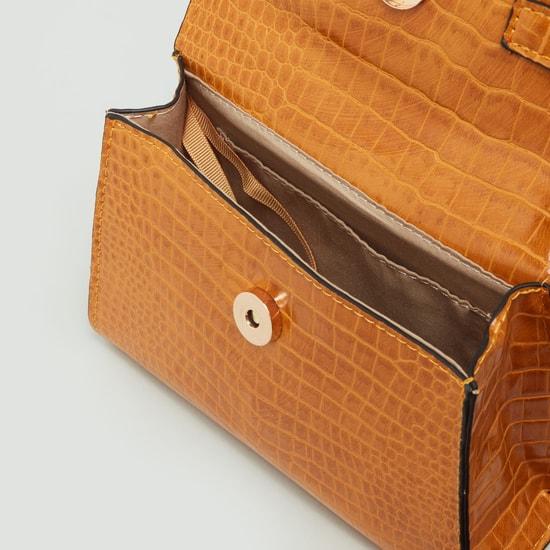 Textured Handbag with Handle Strap and Crossbody Strap