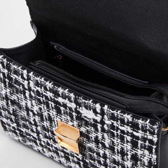Textured Satchel Bag with Detachable Strap