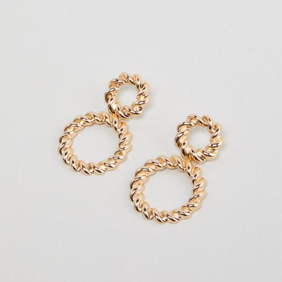 Metallic Dangling Earrings with Pushback Closure