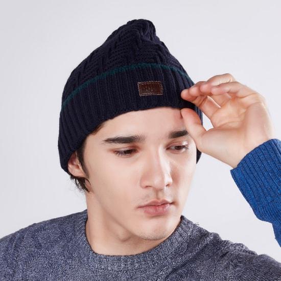 طقم قبعات بيني بارزة الملمس- قطعتين