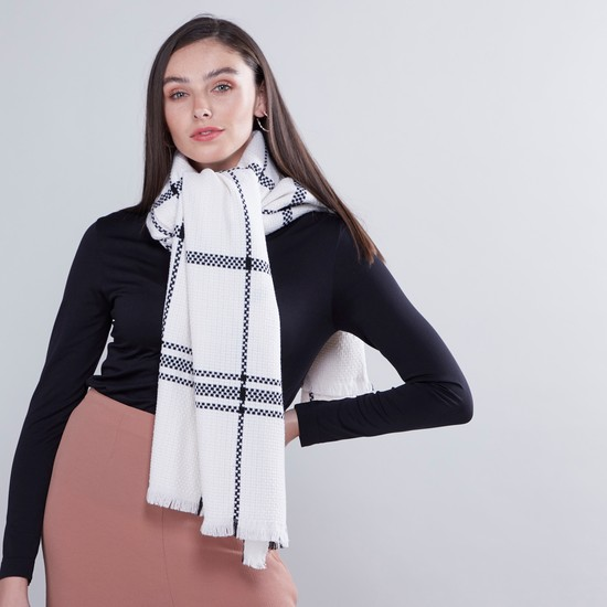 Wide Checked Scarf with Fringes