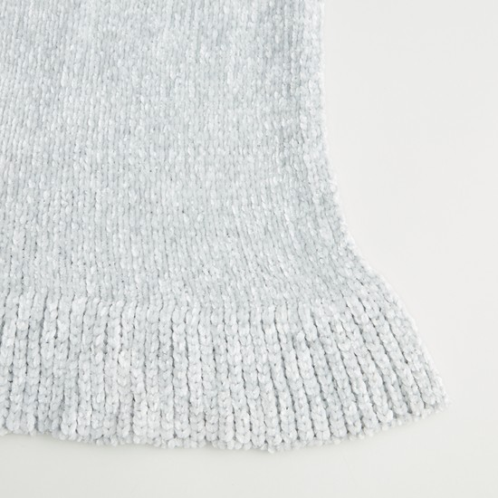 Textured Scarf with Ribbed Hem