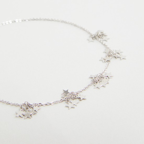 Metallic Anklet with Star Charms