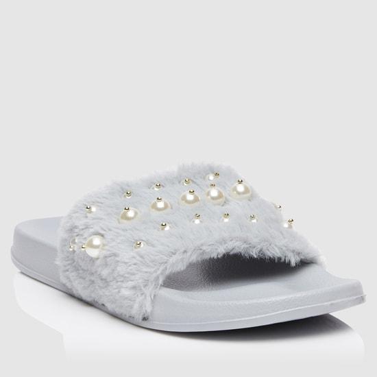 Pearl Embellished Plush Slide Slippers