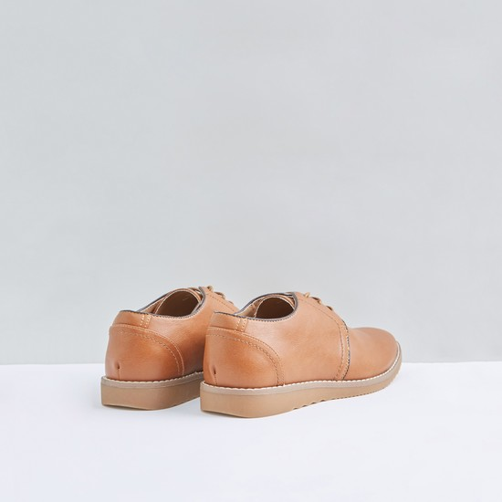 Textured Lace-Up Shoes with Stitch Detail