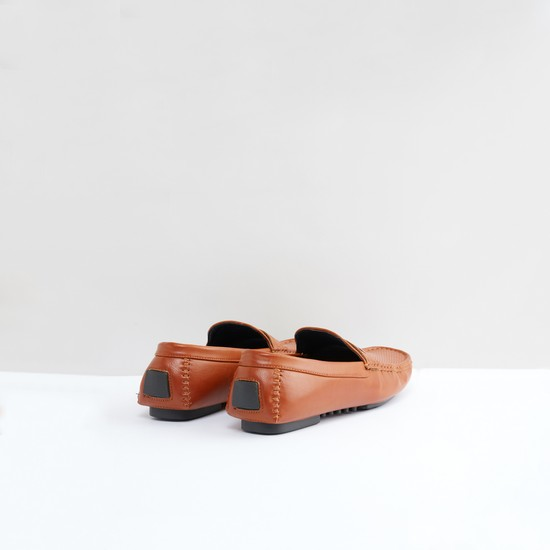 Textured Slip-On Moccasins with Stitch Detail