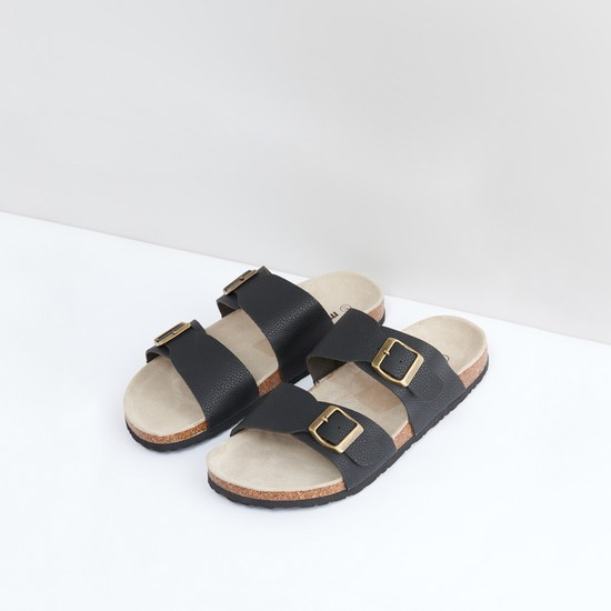 Textured Slides with Pin Buckle Detail
