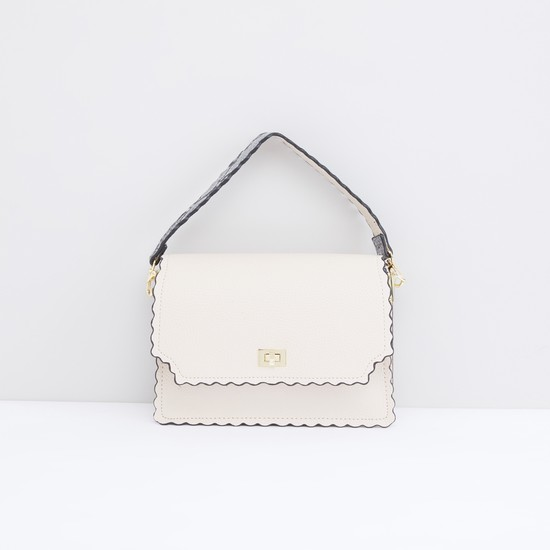 Tetured Satchel Bag with Magnetic Snap Closure