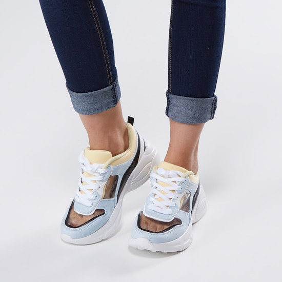 Lace-Up Sports Shoes with Panels and Stitch Detail