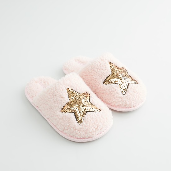 Sequin Detail Plush Slippers
