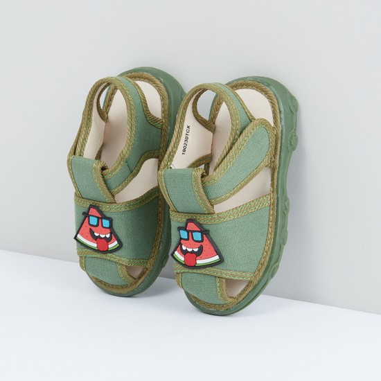 Applique Detail Sandals with Hook and Loop Closure