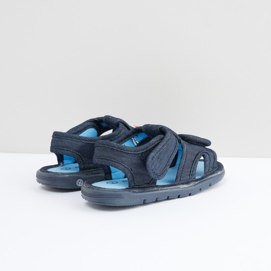 Textured Sandals with Car Applique and Hook and Loop Closure