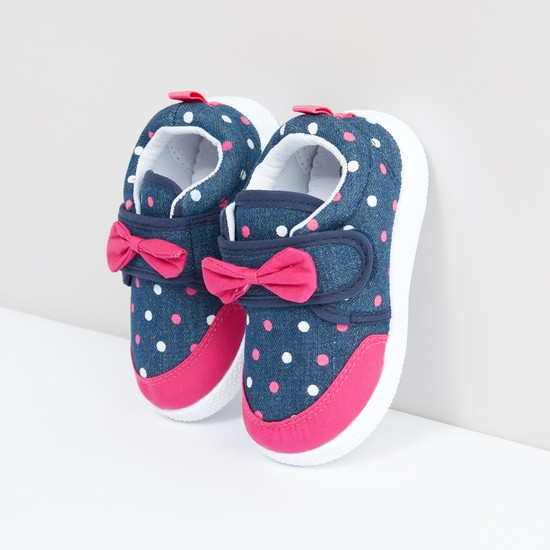 Polka Dot Printed Shoes with Bow Applique and Hook and Loop Closure
