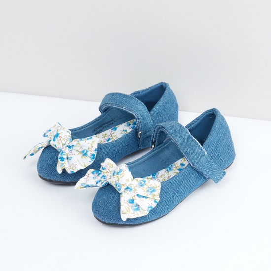 Printed Bow Detail Denim Shoes with Hook and Loop Closure