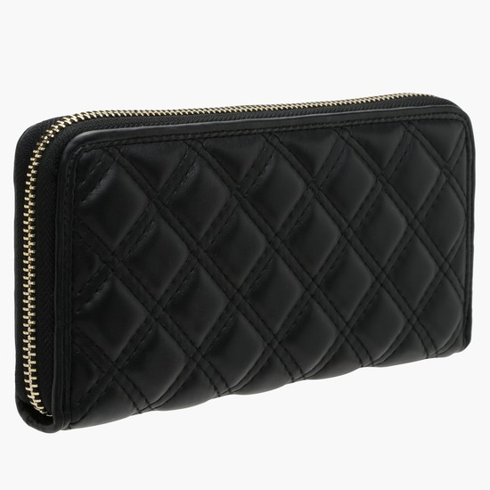 Quilted Wallet with Zip Closure