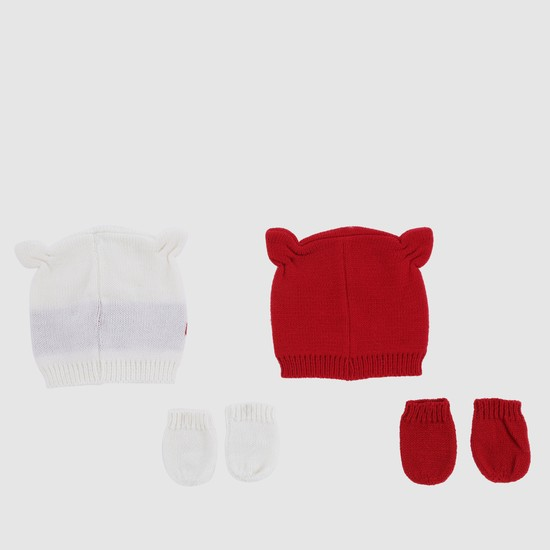 Beanie Caps and Mittens - Set of 2