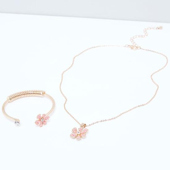 Beaded Floral Necklace and Bracelet Set
