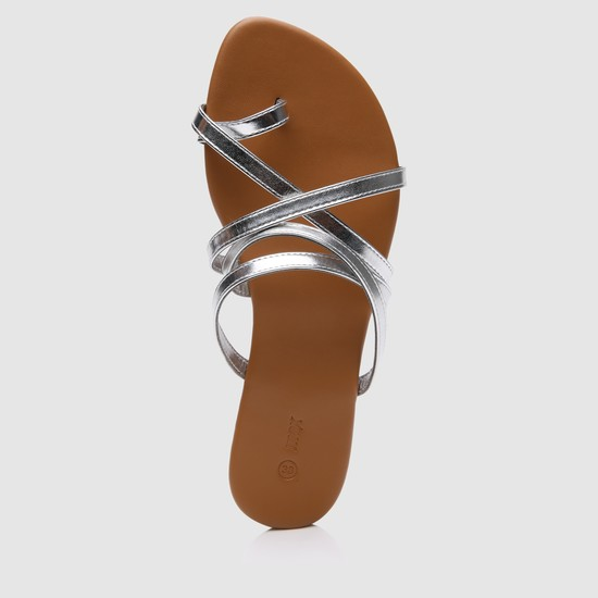 Metallic Slip-On Sandals with Cross Strap Detail