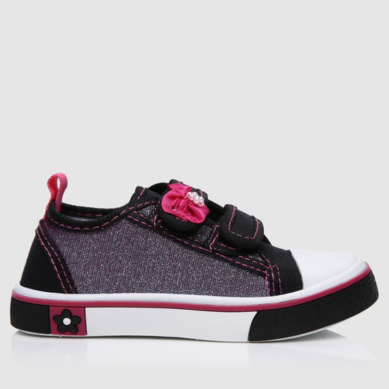 Embroidered Canvas Shoes with Hook and Loop Straps