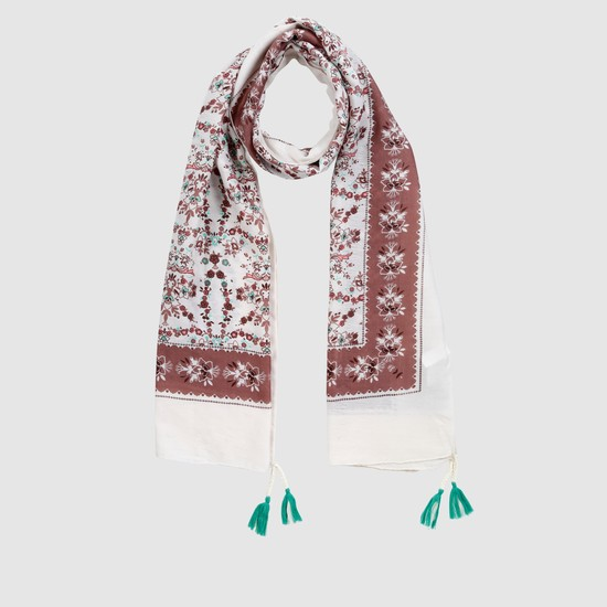 Printed Rectangle Scarf with Fringe Detail