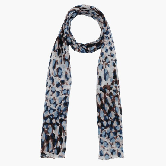 Printed Scarf with Stitched Hem