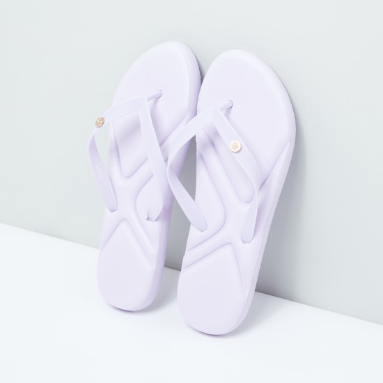 Debossed Flip Flops with Applique Detail