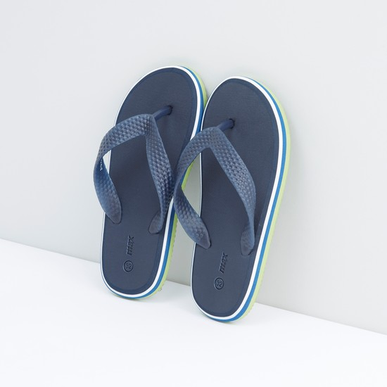 Textured Flip Flops with Slip-On Closure