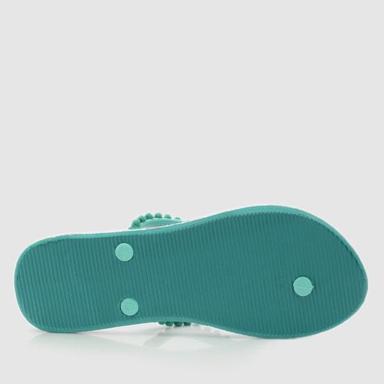 Printed Flip Flops with Pom-Pom Detail Straps