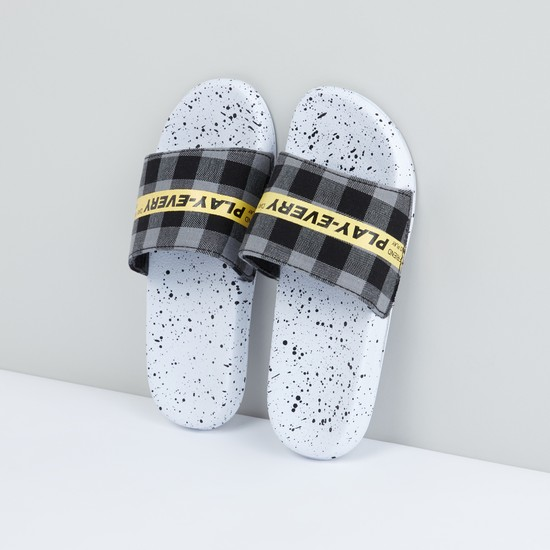 Printed Slides with Chequered Straps