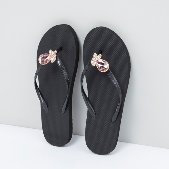 Embellished Thong Style Slippers