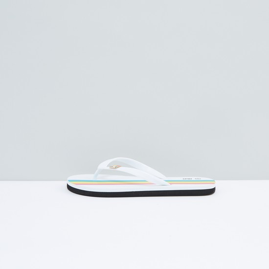 Printed Flip Flops with Applique Detail and Textured Straps