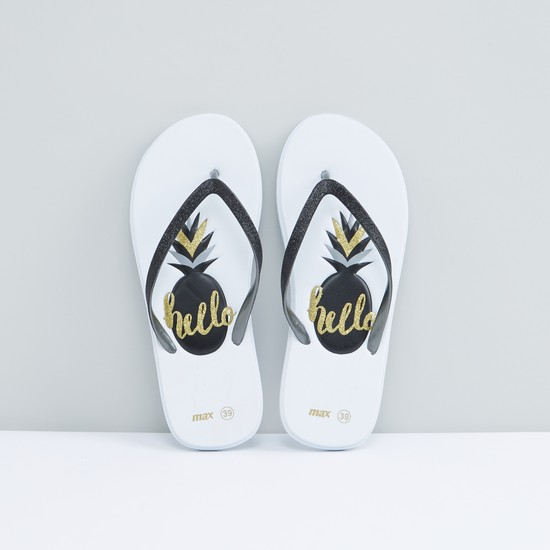 Printed Flip Flops with Glitter Straps