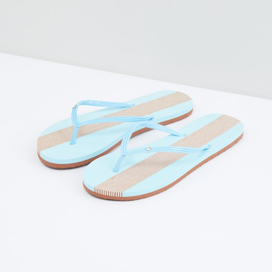 Striped Flip Flops with Textured Straps