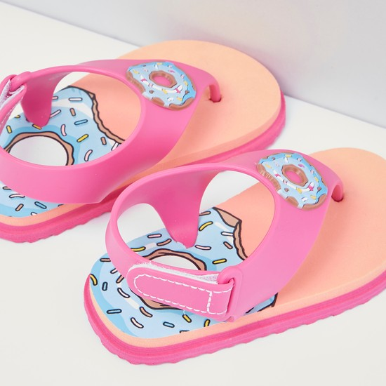 Printed Flip Flops with Hook and Loop Closure