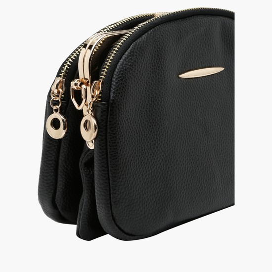 Sling Bag with Zippered and Metallic Closure