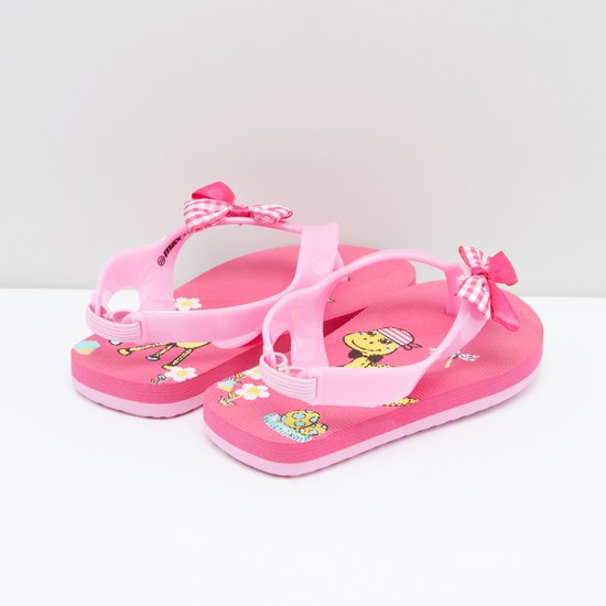 Printed Slingback Flip Flops with Bow Applique