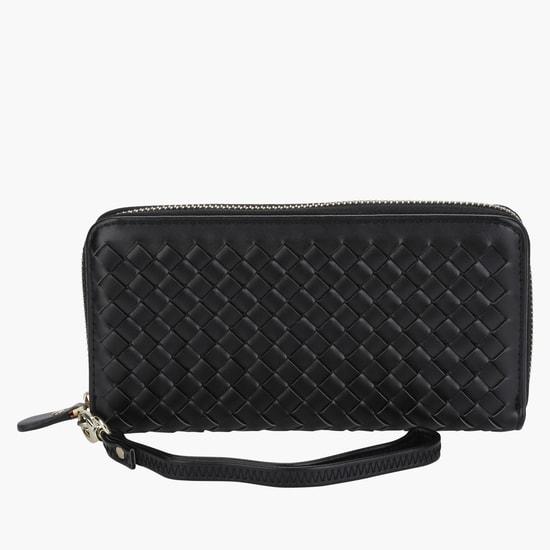 Criss-Cross Wallet with Zipper Closure