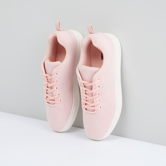 Mesh Detail Lace-Up Shoes