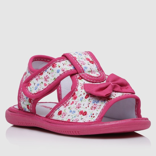 Floral Print Sandals with Hook and Loop Closure
