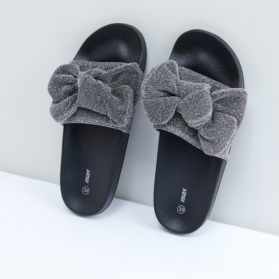 Bow Applique Glitter Detail Slides