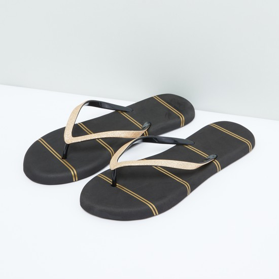 Striped Flip Flops with Glitter Detail Straps
