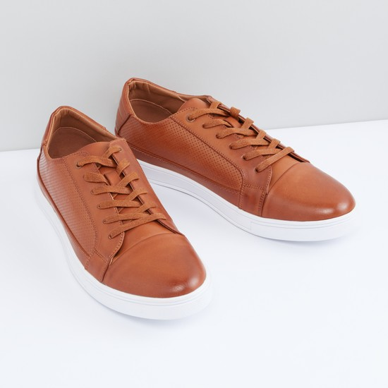 Perforated Shoes with Lace-Up Closure