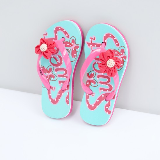Printed Flip Flops with Flower Detail
