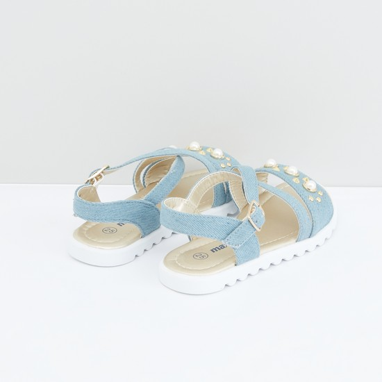 Cross Strap Sandals with Pearl Detail and Pin Buckle Closure