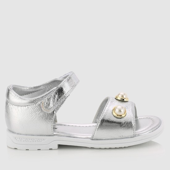 Embellished Strap Sandals with Hook and Loop Strap